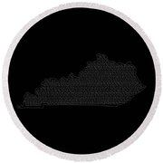 Cities And Towns In Kentucky White Round Beach Towel
