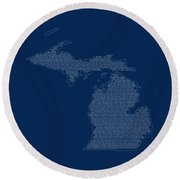 Cities And Towns In Michigan White Round Beach Towel