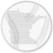 Cities And Towns In Minnesota Black Round Beach Towel