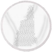 Cities And Towns In New Hampshire Black Round Beach Towel