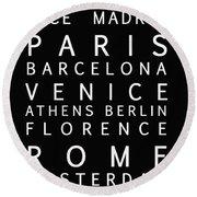 Cities Of Europe Round Beach Towel