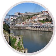 Cities Of Porto And Gaia In Portugal Round Beach Towel