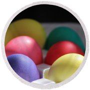 Citrus And Ultra Violet Easter Eggs Round Beach Towel