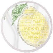 Citrus Fruit Illustrated With Cities Of Florida State Round Beach Towel