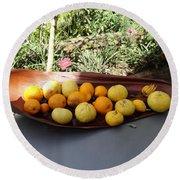 Citrus Fruits Round Beach Towel