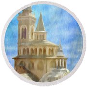 Citta Alta From Above Round Beach Towel by Jeff Kolker