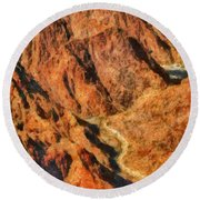 City - Arizona - Grand Canyon - A Look Into The Abyss Round Beach Towel