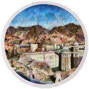 City - Nevada - Hoover Dam Round Beach Towel