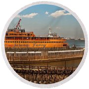 City - Ny - The Staten Island Ferry - Panorama Round Beach Towel