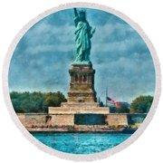 City - Ny - The Statue Of Liberty Round Beach Towel