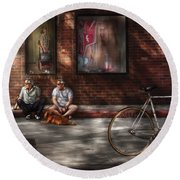 City - Ny - Two Guys And A Dog Round Beach Towel