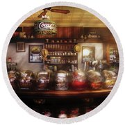 City - Ny 77 Water Street - The Candy Store Round Beach Towel by Mike Savad