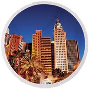City - Vegas - Ny - The New York Hotel Round Beach Towel
