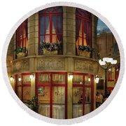 City - Vegas - Paris - Le Cafe Round Beach Towel