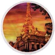 City - Vegas - Paris - The Paris Hotel Round Beach Towel
