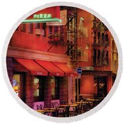 City - Vegas - The Pizza Joint Round Beach Towel