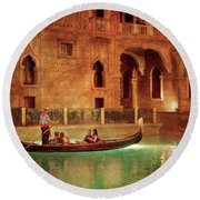 City - Vegas - Venetian - The Gondola's Of Venice Round Beach Towel