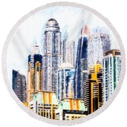 City Abstract Round Beach Towel by Chris Armytage