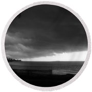 City Against The Storm Round Beach Towel