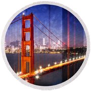 City Art Golden Gate Bridge Composing Round Beach Towel by Melanie Viola