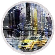 City-art Nyc Collage Round Beach Towel