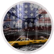 City-art Nyc Composing Round Beach Towel