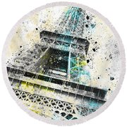 City-art Paris Eiffel Tower Iv Round Beach Towel