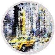 City-art Times Square Streetscene Round Beach Towel