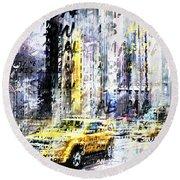 City-art Times Square Streetscene Round Beach Towel