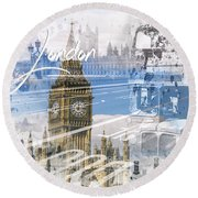 City Art Westminster Collage Round Beach Towel