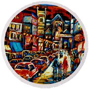 City At Night Downtown Montreal Round Beach Towel