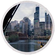 City At The Waterfront, Chicago River Round Beach Towel