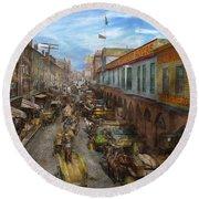 City - Baltimore Md - Traffic On Light Street - 1906 Round Beach Towel
