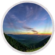 City Below The Mountains Round Beach Towel