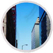 City Buildings Round Beach Towel