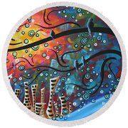 City By The Sea By Madart Round Beach Towel