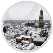 City Centre Of Utrecht With The Dom Tower In Winter Round Beach Towel