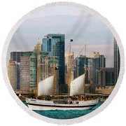 City - Chicago - Cruising In Chicago Round Beach Towel