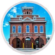 City Hall And Fire Department Round Beach Towel