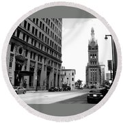 City Hall B-w Round Beach Towel