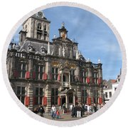 City Hall - Delft - Netherlands Round Beach Towel