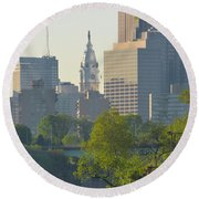 City Hall From The Schuylkill River Round Beach Towel