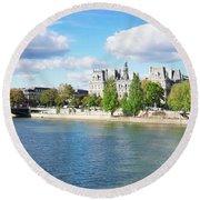 Seine River Embankment Round Beach Towel
