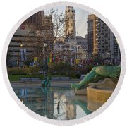 City Hall Reflecting In Swann Fountain Round Beach Towel