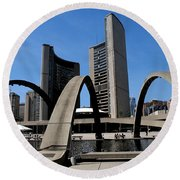 City Halll Arches Round Beach Towel