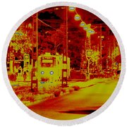 City In Red Round Beach Towel
