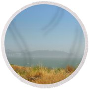 City In The Fog Round Beach Towel