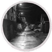 City Lane At Night Round Beach Towel