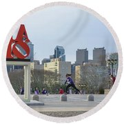 City Life - The Philadelphia Art Museum Round Beach Towel