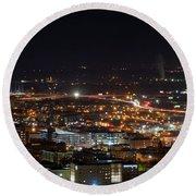 City Lights Over Bham, Al Round Beach Towel